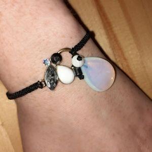 Opalite, Agate + Hematite Macrame Bracelet